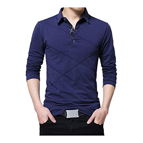 N\P Camiseta larga para hombre, diseño de rayas, ajuste delgado, casual, algodón, talla grande