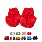 Alayger Women Plush Teddy Bear Slippers Home Indoor Soft Anti-Slip Faux Fur Cute Slippers Winter Warm Shoes Cartoon Floor US 6-9 Red
