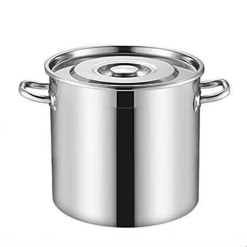 90 litros Olla De Acero Inoxidable, Que Atienden Pote Comercial/Doméstico Espesa Sopa De Profundidad Con Tapa, Que Se Utiliza For Todo Tipo De Cocinas (5-170L) Ollas rectas (Size : 90L)