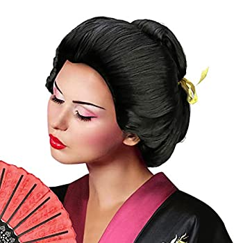 Deluxe Women s Asian Japanese Geisha Wig Short Bob Wigs Costume Accessory Halloween Cosplay Party Hairpiece  Updo Geisha Wigs