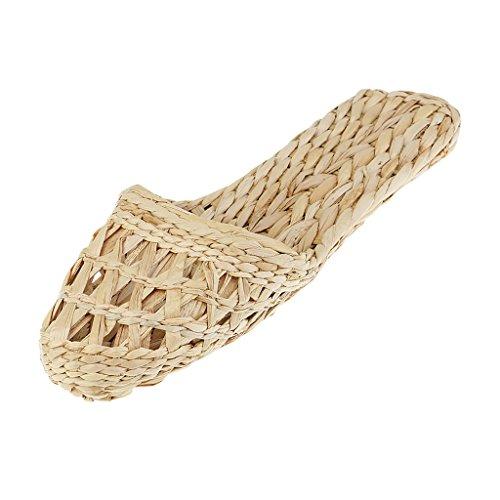 Paio Sandali di Paglia Bambù Pantofole di Rattan Fatti A Mano per Donna Uomo - Naturale, 38