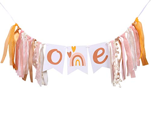 Bohemian Party Rainbow Birthday Banner -1st birthday high chair bunting decoration, silent and neutral modern girl, smash cake props, photographer photo props. (Bohemian Rainbow)