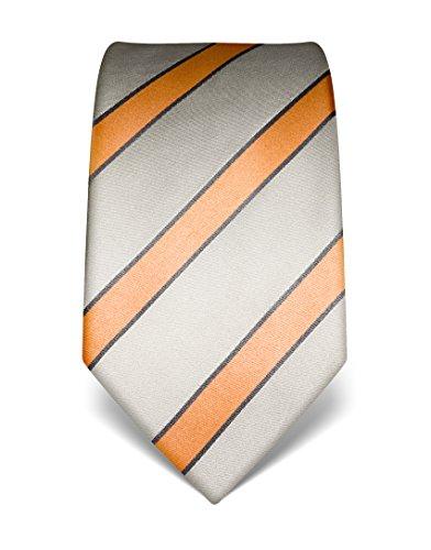 Vincenzo Boretti Herren Krawatte reine Seide gestreift edel Männer-Design zum Hemd mit Anzug für Business Hochzeit 8 cm schmal/breit silber