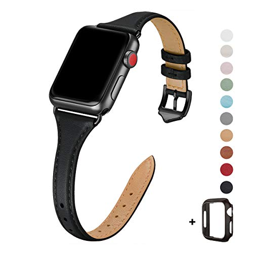 WFEAGL Leather Bands Compatible with Apple Watch 38mm 40mm 42mm 44mm, Top Grain Leather Band Slim & Thin Replacement Wristband for iWatch Series 5/4/3/2/1 (Black Band+Black Adapter, 38mm 40mm)