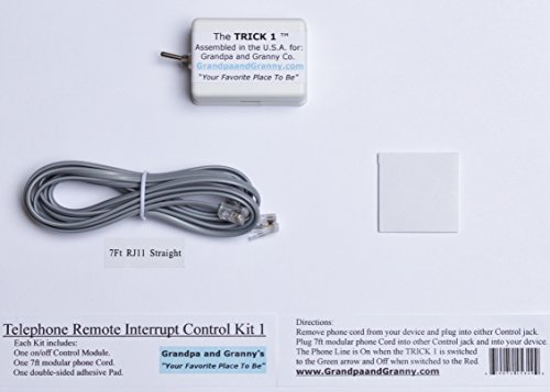 1-LINE On/Off Switch for Any Telephone Device connected to a 1-line RJ-11 Phone Jack. The Telephone Remote Interrupt Control Kit 1. The 'TRICK 1'. Amazon Exclusive, from Grandpa and Granny Co.!