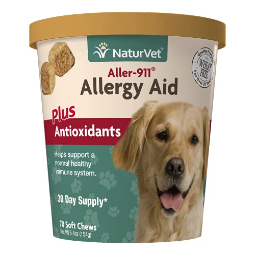 NaturVet Aller-911 Advanced Allergy Aid for Dogs  Cats – Antioxidant-Rich Pet Supplement with Omegas  DHA  EPA – Helps Support Dog Immune System  Cat Respiratory Health  Skin Moisture 70 Soft Chews
