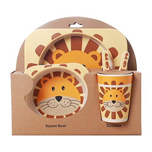 5pcs / Set Vajilla Niños,GZQ,Juegos de vajilla Animal para comer,cubiertos y tazon Fibra de bambú Natural bebé e Infantil (León)