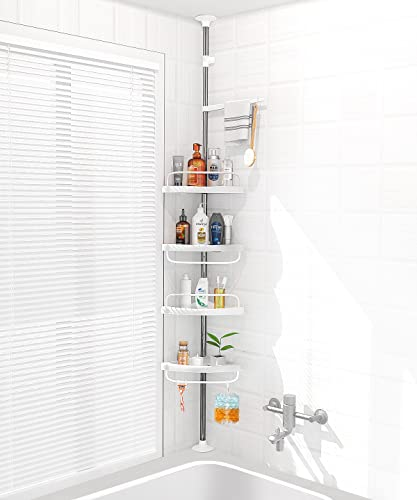 ADOVEL 4 Layer Corner Shower Caddy, Adjustable Shower Shelf, Constant Tension Stainless Steel Pole Organizer, Rustproof 3.3 to 9.8ft