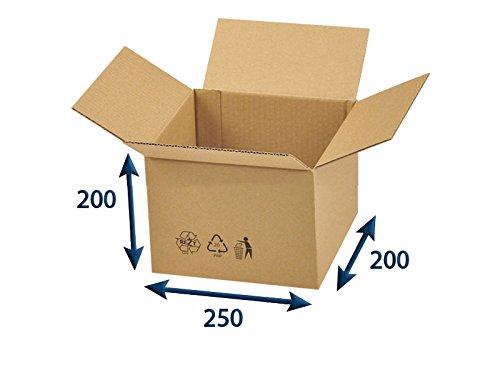 25 x Versandkartons (Faltschachteln, Faltkarton, Wellpappkarton, Wellpappfaltkarton, Kartons), 3-Sicht, 250x200x200mm