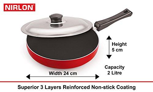 Nirlon Non-Stick Aluminium Cookware Set, 6-Pieces, Red/Black, Gas Compatible only