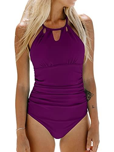 CUPSHE Women's One Piece Swimsuit Tummy Control Cutout High Neck Bathing Suit, S Violet