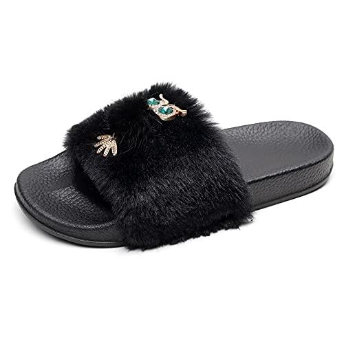 Zapatos informales de plataforma cómodos, para mujer, para el hogar, de felpa, transpirables, para la playa, vacaciones, Negro , 40 EU