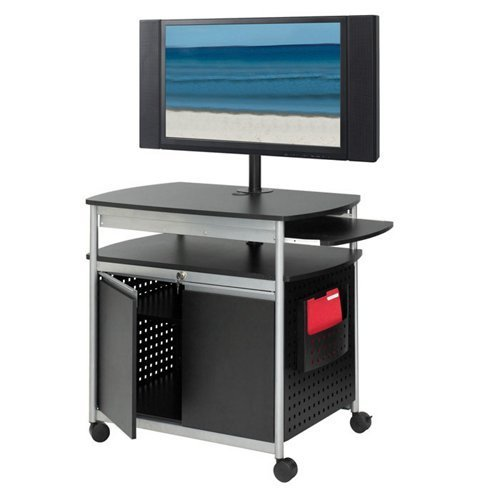 Safco Products Scoot Flat Panel Multimedia Cart, Black