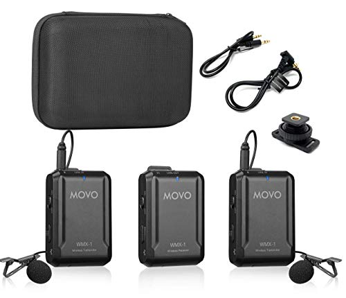 Movo WMX-1-DUO 2.4GHz Dual Wireless Lavalier Microphone System Compatible with DSLR Cameras, Camcorders, iPhone, Android Smartphones, and Tablets (200