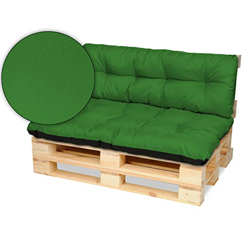 SuperKissen24. Cojín para Palet Sofá Banco 120x80 cm y Respaldo 120x38 cm Asiento Cómodo e Impermeable para Muebles Terazza Exterior - Verde