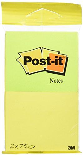 Post-It 6720-YG, Pack de 2 Blocs de Notas Adhesivas, Amarillo Neón, Verde Neón, 76 x 63.5 mm