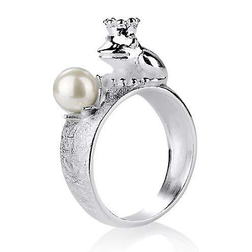 Heartbreaker Frosch Ring mit Krone und Muschelkernperle in Echtsilber | Kollektion Froggy | Froschring aus 925 Sterlingsilber | Niedlicher Ring für Damen