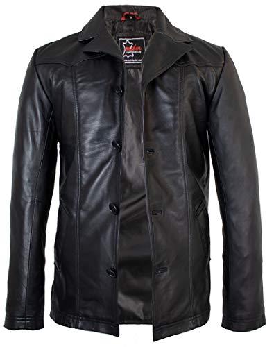 MDM Herren Lederjacke Leder Blazer aus weichem Lamm Nappa Leder (XL)