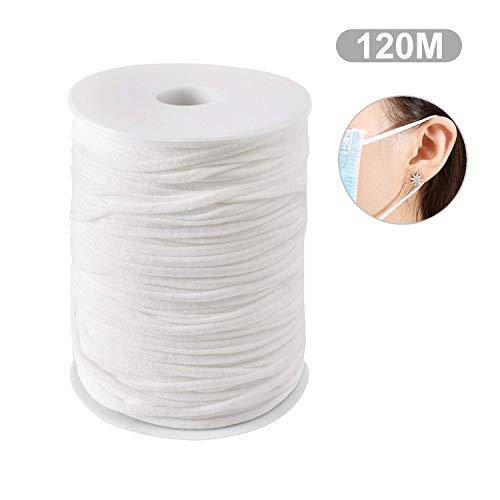 Weiß 120M 3MM Geflochtene elastische Schnur/elastisches Band/DIY Seil/Bungee Gummiband Gummilitze Wäscheband Gummizug Flachgummi Ideal für Masken