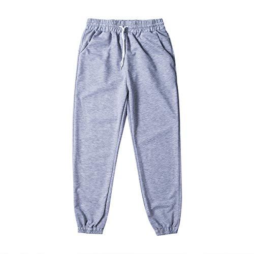 Las mujeres del Deporte Pantalones de Otoño Estiramiento de Deportes Pantalones de Moda Sólido Mujer Cordones Joggers Pantalones de Cintura Alta Correr Pantalones de Gimnasio Gris gris S