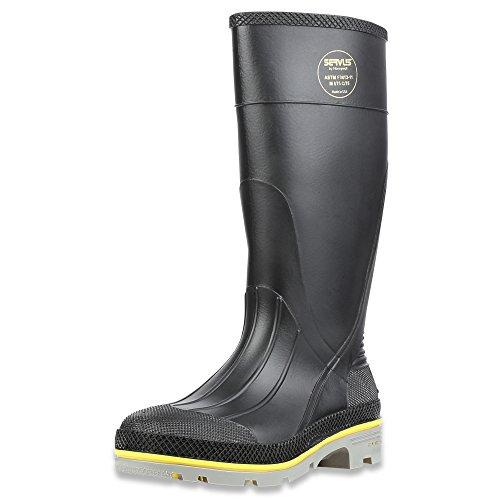 "Servus XTP 15"" PVC Chemical-Resistant Steel Toe Men's Work Boots, Black, Yellow & Gray"