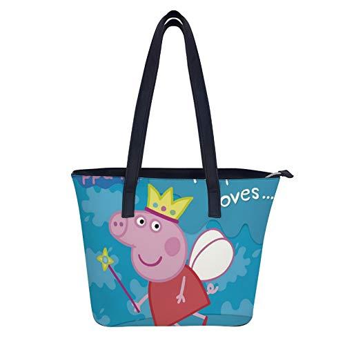 Peppa Pig - Bolsos y bolsos de mano para mujer, de piel sintética, asa superior