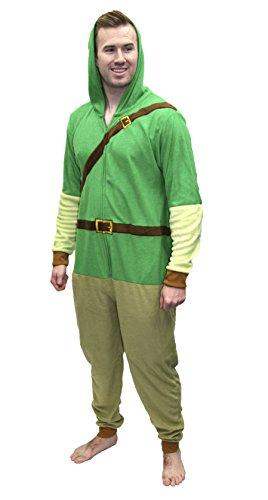 Legend of Zelda MJC International Adult Link Hooded Onesie Pajama Union Suit (Green, X-Large), Green, Size X-Large