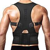 Thoracic Back Brace Posture Corrector - Magnetic Support for Neck Shoulder Upper and Lower Back Pain Relief - Perfect Posture Brace for Cervical Lumbar Spine - Fully Adjustable Belt (Black, XX-Large)