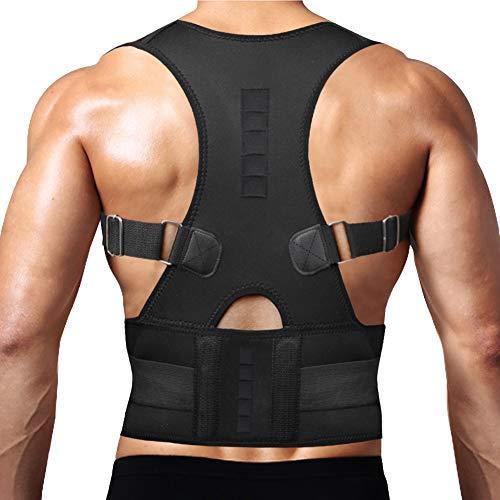 Thoracic Back Brace Posture Corrector - Magnetic Support for Neck Shoulder Upper and Lower Back Pain Relief - Perfect Posture Brace for Cervical Lumbar Spine - Fully Adjustable Belt (Black, Medium)