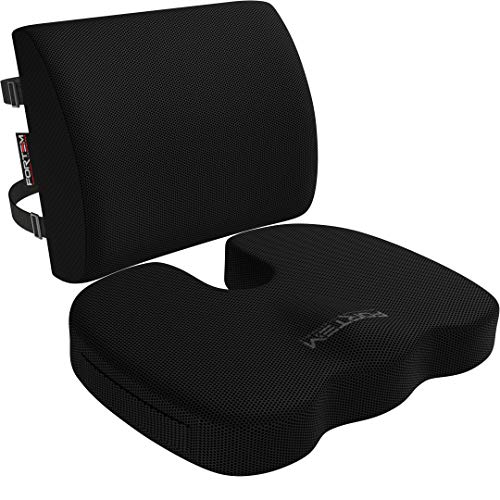 Fortem Seat Cushion & Lumbar Support for Office Chair, Car, Wheelchair, Memory...