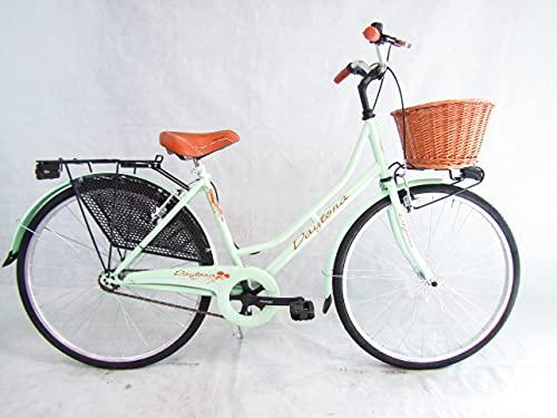 Daytona bicicletta donna 26 bici da passeggio olandese con cesto (verde)