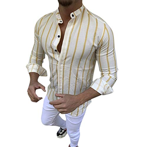 Mens Shirts Long Sleeve Casual Button Down Stripe Stand Collar Muscle T-Shirt Tops Blouse Pullover Jumper Sweatshirts Yellow
