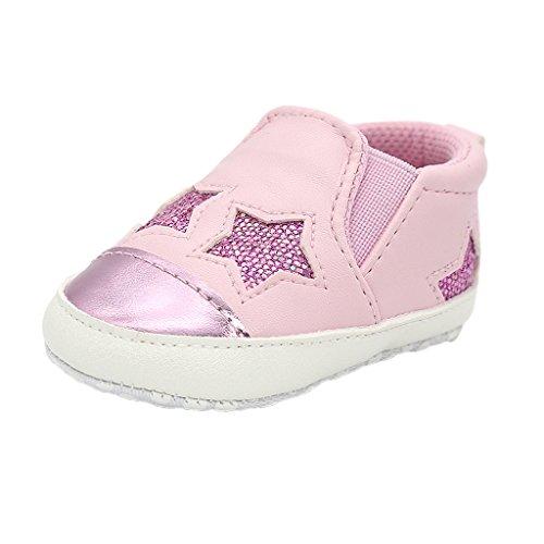 Bebé Niño Bebé Lindo Estrella Zapato Niña Suela Suave Zapatilla de Deporte Cuna - Rosado-L