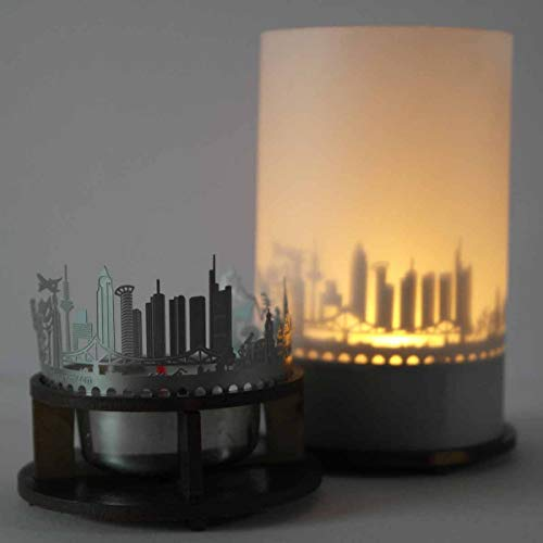 13gramm Frankfurt-Skyline Windlicht Schattenspiel Premium Geschenk-Box Souvenir, inkl. Kerzenhalter, Kerze, Projektionsschirm und Teelicht