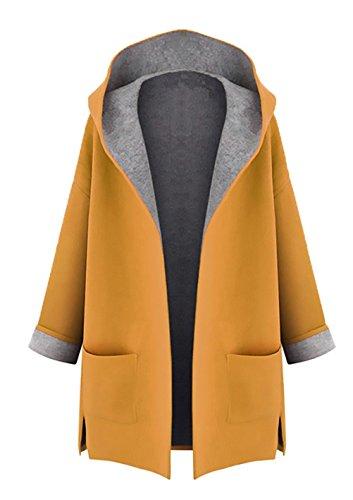 Minetom Mujer Otoño Invierno Suelto Abrigos con Capucha Moda Parka Trench Coat Elegante Bolsillos Chaquetas Tallas Grandes Amarillo ES 44