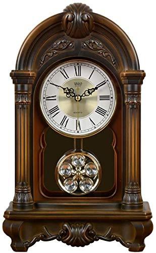 YAYY Reloj de sobremesa Mesa Manto Escritorio Relojes de péndulo Decoración para el hogar Antigua Decoración de la habitación Mute Regalos creativos Relojes de Chimenea con batería B(Upgrade)