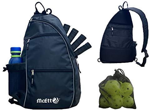 McEtt Pickleball Sling Bag – Adjustable Crossbody Backpack for Women and Men – Stores Pickleballs, Paddles, Water Bottle, Personal Items and Travel Gear