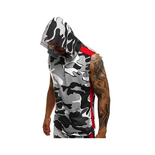 Celucke Herren Sport Tanktop Ärmelloses Hoodie Camouflage Fitness Gym Shirt Trägershirt mit Kapuze, Tank Tops Männer Jogging Muscleshirt Tankshirt Sommer Strand (Weiß,XXL)