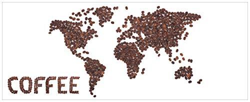 Wallario Glasbild Weltkarte mit Schriftzug aus Kaffeebohnen - 50 x 125 cm in Premium-Qualität: Brillante Farben, freischwebende Optik