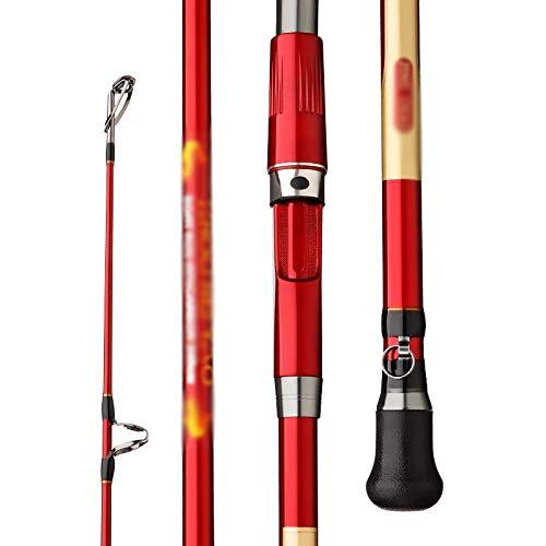 NMJKH Peso del señuelo 100-300g Caña de Pescar de Barco de mar 1,8 M 2,1 M 2,4 M 3 Secciones Caña de Pescar giratoria de Agua Salada de Fibra de Carbono (Size : 2.4m)