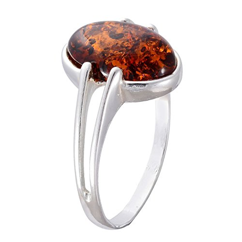 HolidayGiftShops Sterling Silver and Baltic Honey Amber Adult Ring Federica- Size 5.5