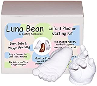 Luna Bean Infant Plaster Statue Casting Keepsake Kit - Cast Baby Hand & Foot (0-9M) (Clear Glaze)