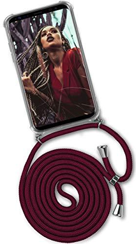 ONEFLOW Handykette kompatibel mit Samsung Galaxy S9 - Handyhülle mit Band zum Umhängen Hülle Abnehmbar Smartphone Necklace - Hülle mit Kette, Wein-Rot