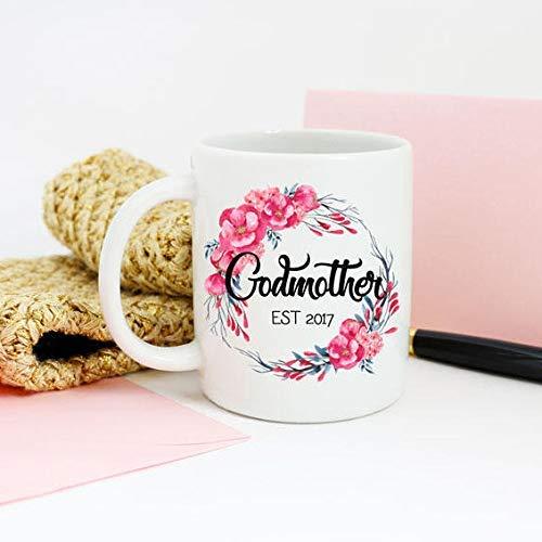 N\A Regalo de la Madrina, Taza de la Madrina, Taza de café Personalizada del Padrino, Anuncio de revelación de la Hada Madrina, Taza de café Floral