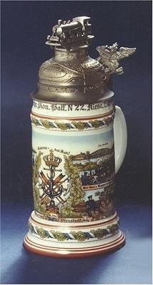 Bierseidel Bier-Krug Reservistenkrug mit Bodenbild 0,5l 2.Kgl. Pion.Bat. Riesa