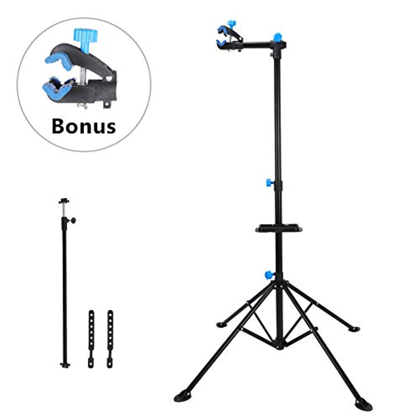Estink Bike Repair Stand, Bicycle Repair Rack Foldable Mechanic Workstand with Tool Tray and Feet Pad for Bicycle Repair