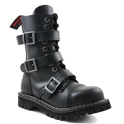 ANGRY ITCH - 10-Loch 3-Buckle Gothic Punk Army Ranger Leder Schwarz Schnallen Armee Stiefel mit RV & Stahlkappe 36-48 - Made in EU!, EU-Größe:EU-38