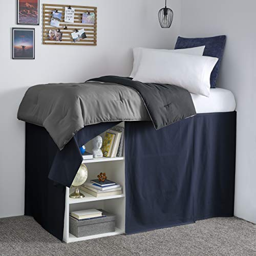 Nautica | Dorm Collection | 100% Cotton Extra Long 42-Inch Drop Bedskirt Dust Ruffle, Perfect For College Loft Beds, Easy Care Machine Washable, Twin XL, Navy