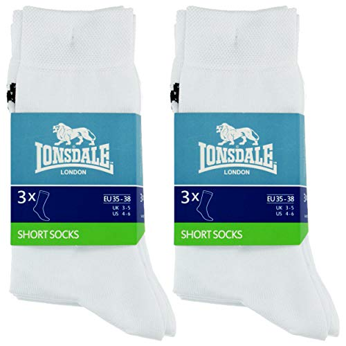 Lonsdale 6 Paar kurze Socken, mittlere Wadenhöhe, ausgezeichnete Qualität aus mercerisierter Baumwolle (Weiß, 43-46)
