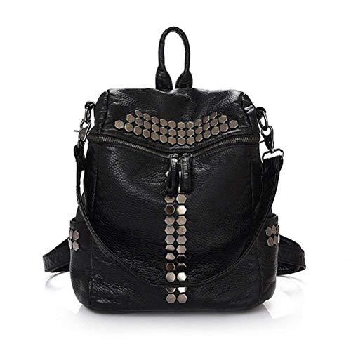 honeymall Damen-Vintage-Rucksack mit Nieten Casual Leder Weich (schwarz)
